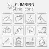Rock-climbing equipment, climbing, rock climbing, mountaineering, equipment. Thin line icon set. Vector illustration. Stock Image