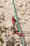 Rock climbing equipment - rope and quickdraw Royalty Free Stock Photos