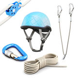 Rock climbing equipment on white background. 3d rendering Stock Photo