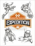 Rock Climbing Expedition. Vector Set - Expeditions Royalty Free Stock Image