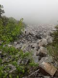 Rock climbing in fog. During day Royalty Free Stock Photos