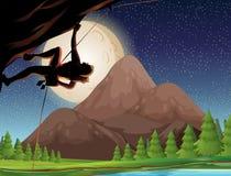 Rock climbing on fullmoon night. Illustration Stock Photos
