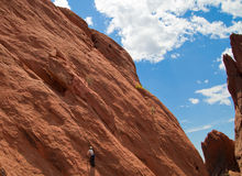 Rock Climbing in Garden of the Gods Park Royalty Free Stock Image