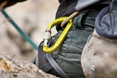 Rock climbing gear - carabiner Royalty Free Stock Photos