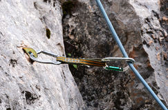 Rock climbing gear. Close up of outdoor rock climbing equipment royalty free stock photography