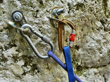 Rock climbing gear. Close up of outdoor rock climbing equipment stock photo