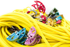 Rock climbing gear close-up Royalty Free Stock Photos