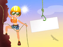 Rock climbing girl Royalty Free Stock Images