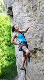 Rock climbing girl in Ukraine Royalty Free Stock Photo