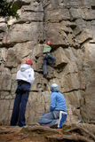 Rock climbing group. A group of three female rock climbers Royalty Free Stock Photography