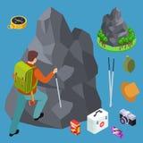 Rock climbing, hiking isometric vector equipments set royalty free illustration