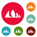 Rock climbing icons circle set vector. Isolated on white background Royalty Free Stock Images