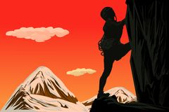 Rock climbing-illustrations Royalty Free Stock Photo