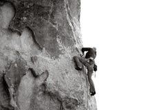 Rock Climbing. Lead climbing the rock face Stock Photos