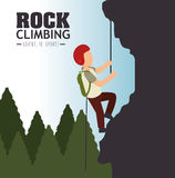 Rock climbing man emblem graphic Royalty Free Stock Photo