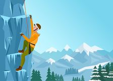 Rock Climbing man. Male on the ice rock. Winter extreme outdoor sports. Vector Illustration. Royalty Free Stock Photography