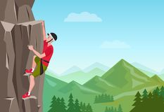 Rock Climbing man. Male on the rock. Extreme outdoor sports. Vector Illustration. Stock Image
