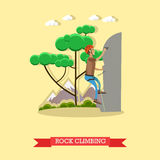 Rock climbing man, vector illustration in flat style Royalty Free Stock Images