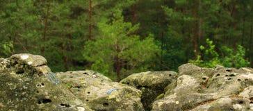 Rock-climbing mark in fontainebleau stock photos