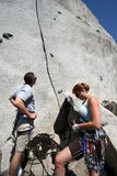 rock climbing outdoors on rock Royalty Free Stock Photos