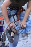 Rock climbing preparation royalty free stock image