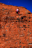 Rock Climbing on Red Sandstone for Sport Recreation and Fun Stock Images