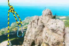 Rock climbing rope with hooks Stock Photography