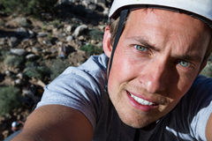 Rock climbing selfie Stock Photography