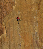 Rock climbing in Smith Rock Park, OR. Redmond, OR USA - November, 6th 2016. Smith Rock Park in Central Oregon is a great spot for rock climbing royalty free stock image