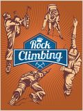 Rock climbing. Vector set -  emblem and climbers. Royalty Free Stock Photos