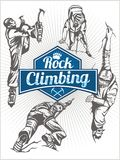 Rock climbing. Vector set -  emblem and climbers. Stock Photography