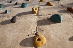 Rock climbing wall Stock Photography