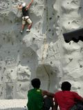 Rock climbing wall Royalty Free Stock Images