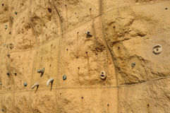 Rock climbing wall Stock Photo