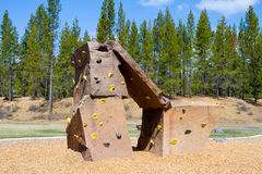 Rock Climbing Wall at Park Royalty Free Stock Photography