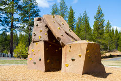 Rock Climbing Wall at Park Royalty Free Stock Images