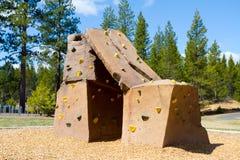 Rock Climbing Wall at Park Royalty Free Stock Images