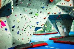 Rock climbing wall recreation center Stock Image