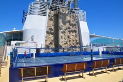 Rock Climbing Wall on sports deck, Royal Caribbean. Rock Climbing Wall Royal Caribbean International cruise line royalty free stock photo