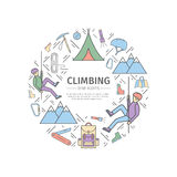 Rock-climbing web banner, sports equipment. Advertising template. Stock Photography