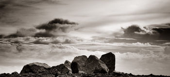 Rock with cloud background Royalty Free Stock Photography