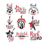 Rock club logo design set, label for music festival vector Illustrations on a white background. Rock club logo design set, label for music festival vector stock illustration