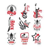 Rock club vintage style logo set, label for rock music fest vector Illustrations on a white background. Rock club vintage style logo set, label for rock music vector illustration