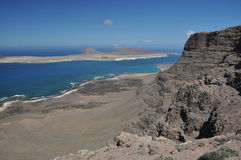 Rock coast, Lanzarote. View from cliff on Lanzarote rock coast Royalty Free Stock Photography