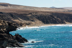 Rock coast near La Pared village on the south western part of Fuerteventura Royalty Free Stock Photography