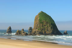 The rock  on the coast of the Pacific Ocean. Royalty Free Stock Photography