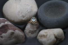 Rock Collection. An aquamarine ring among fossils and other rocks royalty free stock photos