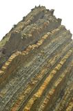 Rock Composed of Fossil Records with Formations of the Flysch Type of the Paleocene Geopark Basque Route UNESCO. Shooting Game Of. Thrones. Itzurun Beach royalty free stock image