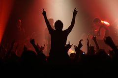 Rock concert. Live concert - the band and the crowd Stock Photos