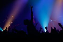 Rock concert. Live concert - the band and the crowd Royalty Free Stock Images